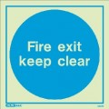 Jalite 5257Q Fire Exit Keep Clear Sign - 300 x 300mm - Photoluminescent